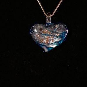 Lampworks Glass Heart Pendant